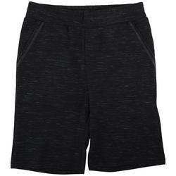 Mens Heathered Stretch Knit Cargo Shorts