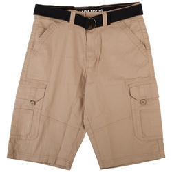 Mens Solid Twill Belted Cargo Shorts