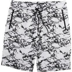 Mens Marble Print Solid Fleece Shorts