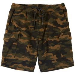 Mens Camo Fleece Cargo Shorts