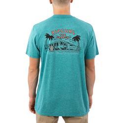 Mens Back Door Mock Twist Short Sleeve T-Shirt