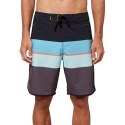 Mens Four Square Stretch Striped Boardshorts