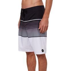 Mens Lennox Greyscale Striped Boardshorts