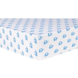 Trend Lab Blue Elephants Deluxe Flannel Fitted Crib