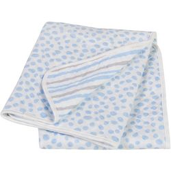 Trend Lab Blue and Grey Cloud Knit Blanket