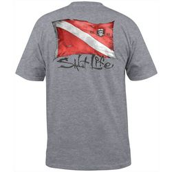 Salt Life Mens Heathered Dive Flag Short Sleeve T-Shirt