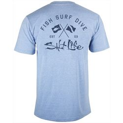 Salt Life Mens Crossed Flags Heathered T-Shirt