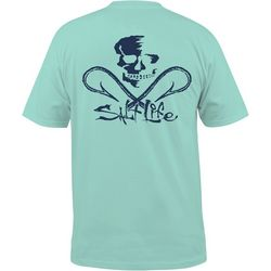 Salt Life Mens Blue Skull & Hooks Pocket T-Shirt