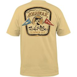 Salt Life Mens Aquaholic Flag Short Sleeve T-Shirt