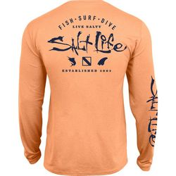 Salt Life Mens Watermans Trifecta Logo SLX UVapor T-Shirt