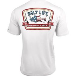 Salt Life Mens Red, White & Brew Performance Pocket T-Shirt