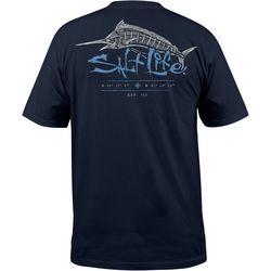 Salt Life Mens UVapor Etched Marlin Pocket T-Shirt