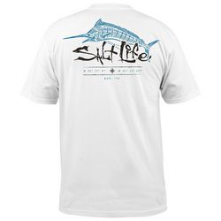 Salt Life Mens Etched Marlin Pocket T-Shirt