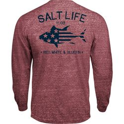 Salt Life Mens Red White & Bluefin Long Sleeve T-Shirt