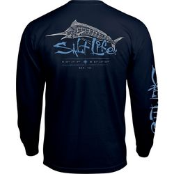 Salt Life Mens Etched Marlin Long Sleeve T-Shirt
