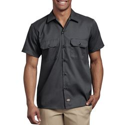 Dickies Mens Flex Slim Fit Solid Short Sleeve Work Shirt