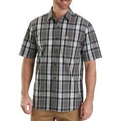 Carhartt Mens Essential Plaid Button Up Short Sleeve Shirt