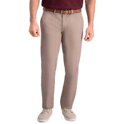 Haggar Mens Premium Comfort Khaki Slim Fit Flat Front Pants