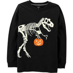 Carters Little Boys Glow Halloween T-Rex Skeleton Sweatshirt