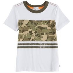 Flapdoodles Little Boys Dinosaur Camouflage Pocket T-Shirt