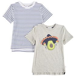 Flapdoodles Little Boys 2-pk. Avocado & Striped T-Shirts