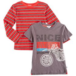 Flapdoodles Little Boys 2-pk. Nice Wheels & Stripe T-Shirts