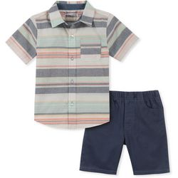 Nautica Little Boys Stripe Button Down Shorts Set