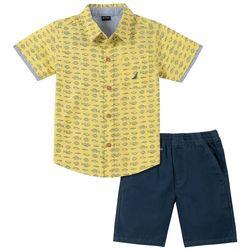 Nautica Little Boys Fish Print Button Down Shorts Set