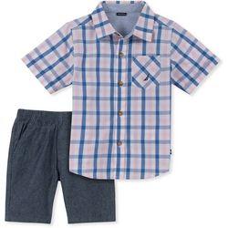 Nautica Little Boys Plaid Button Down Shorts Set