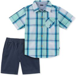 Nautica Little Boys Plaid Woven Shorts Set