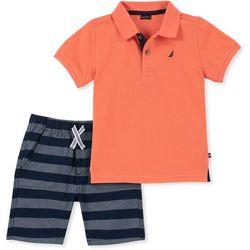 Nautica Little Boys Solid Polo Stripe Shorts Set