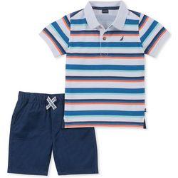 Nautica Little Boys Stripe Print Polo Shorts Set
