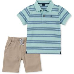 Nautica Little Boys Striped Polo Shorts Set