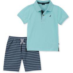 Nautica Little Boys Solid Polo Striped Shorts Set