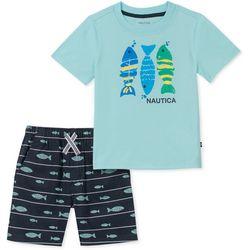 Nautica Little Boys Fish Stripe Shorts Set