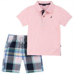 Nautica Little Boys Plaid Polo Shorts Set