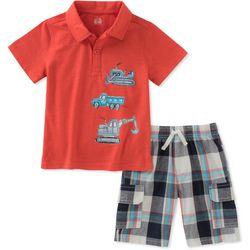 Nautica Little Boys Construction Polo Plaid Shorts Set