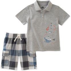 Nautica Little Boys 2-pc. Heathered Polo Shorts Set