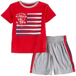 Spalding Little Boys Play Hard Bat Flag Shorts Set