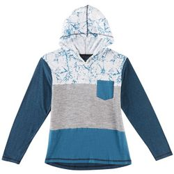 Distortion Big Boys Marble Colorblocked Hooded T-Shirt