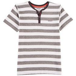DKNY Big Boys Stripe Print Henley T-Shirt