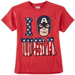 Marvel Captain America Big Boys I Love USA T-Shirt