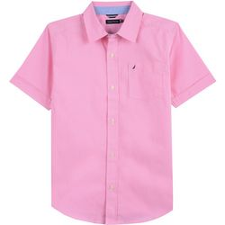 Nautica Big Boys Check Plaid Button Up Short Sleeve Shirt