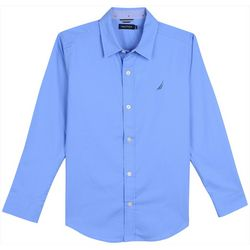 Nautica Big Boys Solid Tyler Button Down Long Sleeve Shirt
