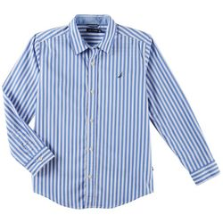 Nautica Big Boys Toby Stripe Button Down Long Sleeve Shirt
