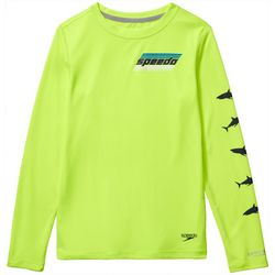 Speedo Big Boys Long Sleeve Shark Rashguard