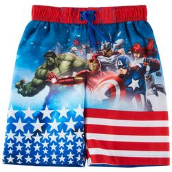 Marvel Avengers Little Boys Team Flag Swim Shorts