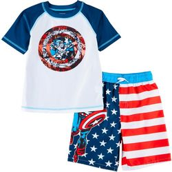 Captain America Little Boys 2-pc. Marvel Rashguard Set