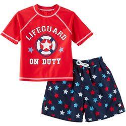 Flapdoodles Little Boys 2-pc. Lifeguard Rashguard Set