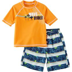 Flapdoodles Little Boys 2-pc. Wave Rider Rashguard Set